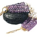 Amethyst And Pearl Earrings In Gold