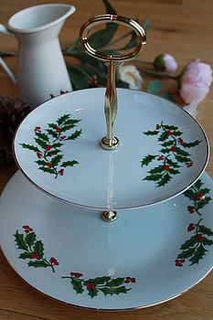 Christmas Holly Two Tier Cake Stand