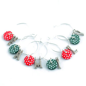 Handmade Personalised Christmas Wine Charms - home