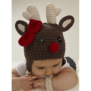 Christmas Reindeer Infant Crochet Hat - baby's first christmas