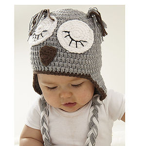 Sleepy Owl Hand Crochet Infant Hat - woodland trend