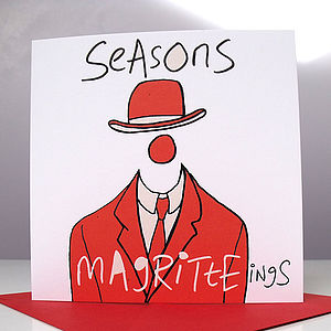 'Seasons Magritteings' Pack Of Six Christmas Cards