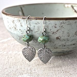 Silver Leaf Turquoise Earrings - earrings