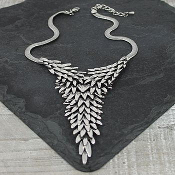 Metal Feather Pyramid Necklace