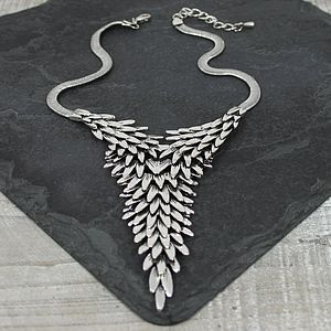 Metal Feather Pyramid Necklace - necklaces & pendants