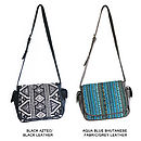 Esta Satchel in Black Aztec Jacquard/Black Leather and Aqua Blue Bhutanese Fabric/Grey Leather