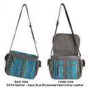 Esta Satchel in Aqua Blue Bhutanese Fabric/Grey Leather - Views