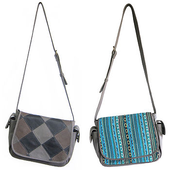 Esta in Grey Patchwork Leather and Aqua Blue Bhutanese Fabric/Grey Leather