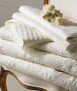 Cream French Style 100% Cotton Quilted Bedspread - bedroom