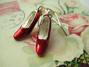 Wizard Of Oz Ruby Slippers Charm Earrings - earrings