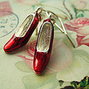 Wizard Of Oz Ruby Slippers Charm Earrings