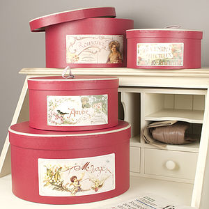 Set Of Five French Red And Gold Hat Gift Boxes