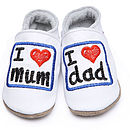 Leather Baby Shoes I Love Mum And Dad White