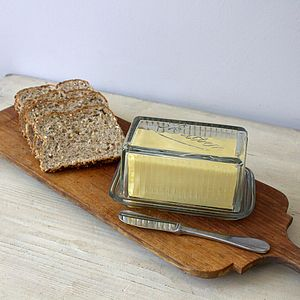 Moulded Glass Butter Dish - serving dishes