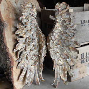 Angel Wings Large Gold Antiqued Style - sculptures