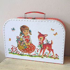Set Of Three Vintage Girl And Bambi Suitcases