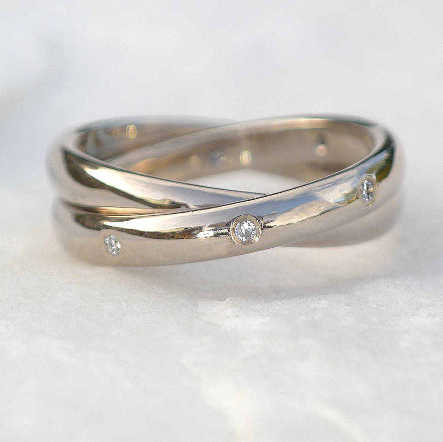 Diamond Rolling Ring In 18ct Gold By Lilia Nash Jewellery