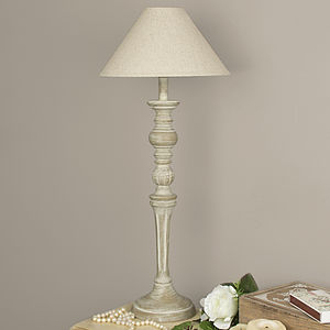Distressed Wooden Table Lamp With Shade