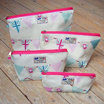 Bunting Union Jack Cosmetic Toiletry Wash Bag