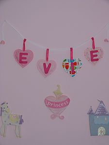 Personalised Heart Shaped Bunting - baby's room