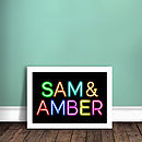 Personalised neon sign print two names