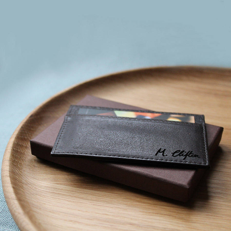 personalised leather card holder by nv london calcutta ...