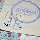 Blue Porcelain Heart Earrings