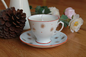 Gold Stars Vintage Teacup Candle
