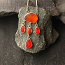Orange Sea Glass Fringe Pendant