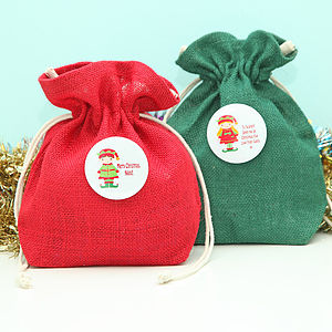Christmas Elf Personalised Mini Jute Sack - stockings & sacks