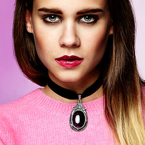 Jada Velvet Choker Gemstone Necklace - fashion jewellery