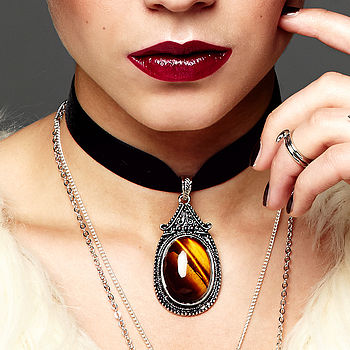 Maya Tiger Eye Velvet Choker Gemstone Necklace