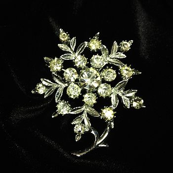 Vintage Diamante Flower Brooch