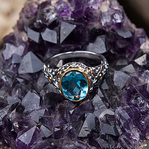 Blue Topaz Silver And Gold Filigree Ring - rings