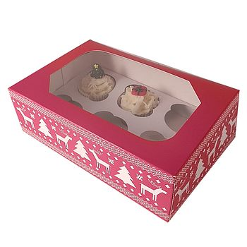Scandinavian Christmas Cupcake Boxes: Pack Of Four