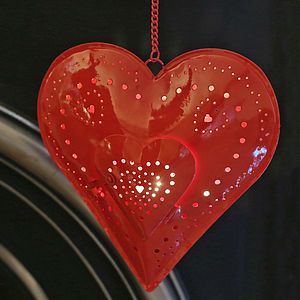 Large Red Heart Hanging Tealight Holder - candles & candlesticks