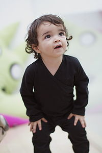 Black Organic Cotton Babygrow W Crossover Neck
