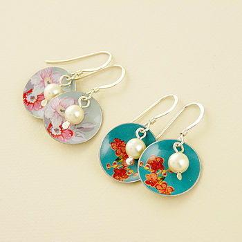 Vintage Style Disc And Pearl Earrings