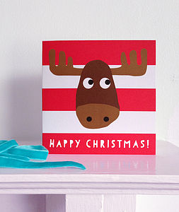 Happy Christmas Moose Card - cards