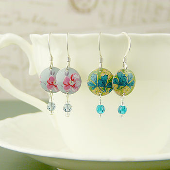 Vintage Style Disc And Crystal Earrings