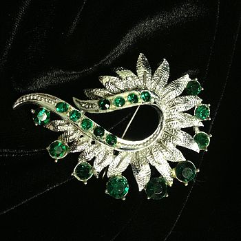Vintage Silver And Emerald Style Brooch