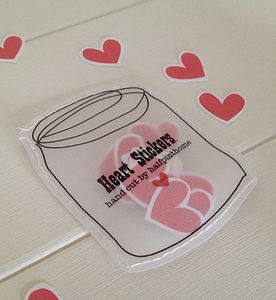 Handmade Heart Stickers In A Sewn Paper Jar