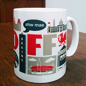 Cardiff City Typographic Mug