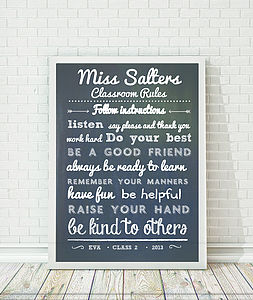 Personalised Teacher's Classroom Rules Print - prints & art