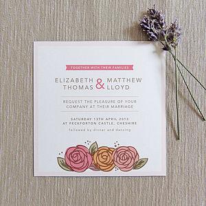 Rose Wedding Invitation - invitations