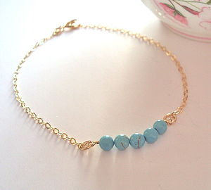Turquoise Beaded Gold Bracelet - jewellery