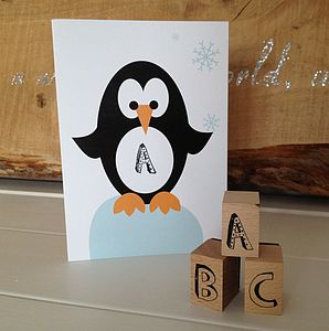 Children's Personalised Penguin Card - cards
