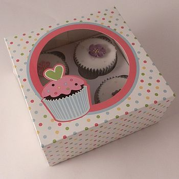 Dotty Cupcake Boxes: Pack Of Two