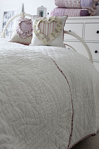 Ivory Quilted Scallop Edge Kingsize Throw - bedspreads & quilts