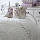 Ivory Quilted Scallop Edge Kingsize Throw